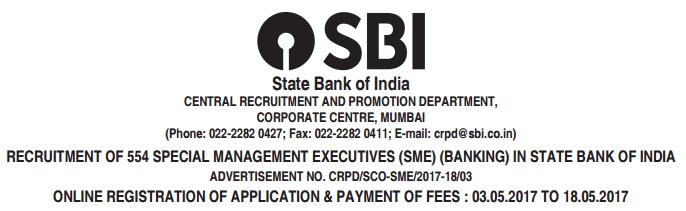 Jobs in SBI 554 SME Recruitment 2017 Apply Online www.sbi.co.in