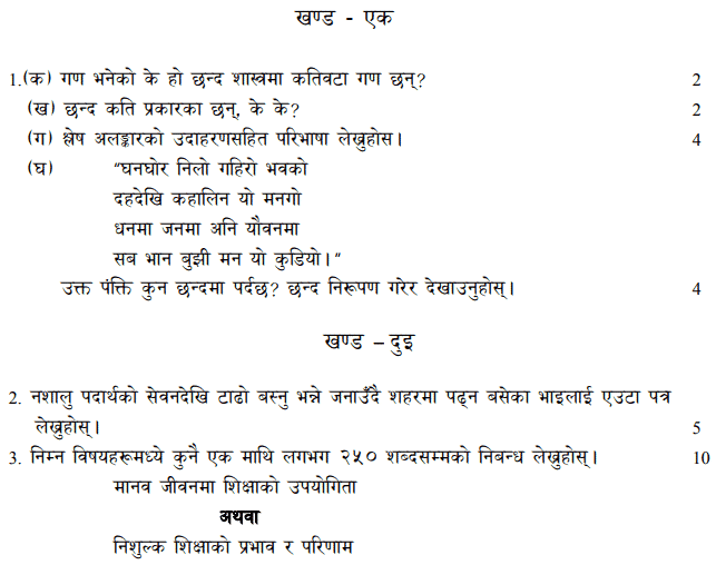 CBSE Class 12 Nepali Sample Paper Marking Scheme
