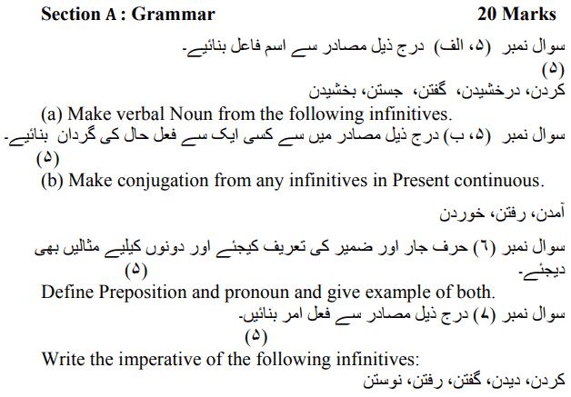 CBSE Class 12 Persian Sample Paper Marking Scheme