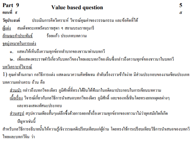 CBSE Class 10 Thai Sample Paper Marking Scheme