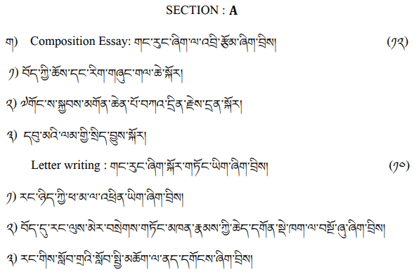 CBSE Class 12 Tibetan Sample Paper Marking Scheme