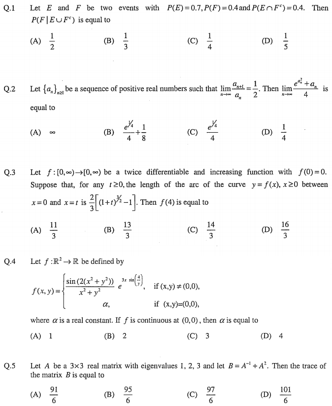 JAM Question Paper 2019 MS (Mathematical Statistics)