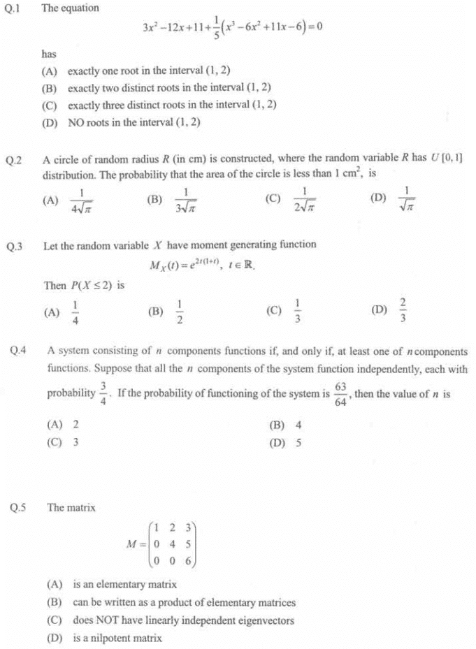 JAM Question Paper 2014 MS (Mathematical Statistics)