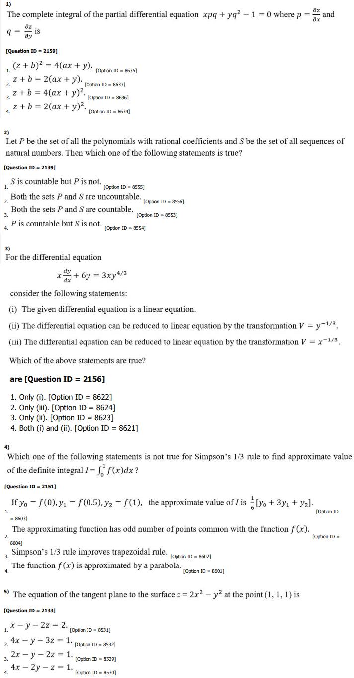 DU MA MSc Mathematics Entrance Question Paper 2019