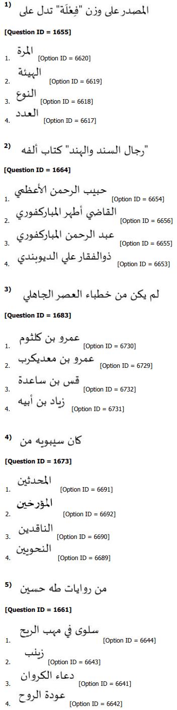 DUET MPhil Phd in Arabic Question Paper 2019
