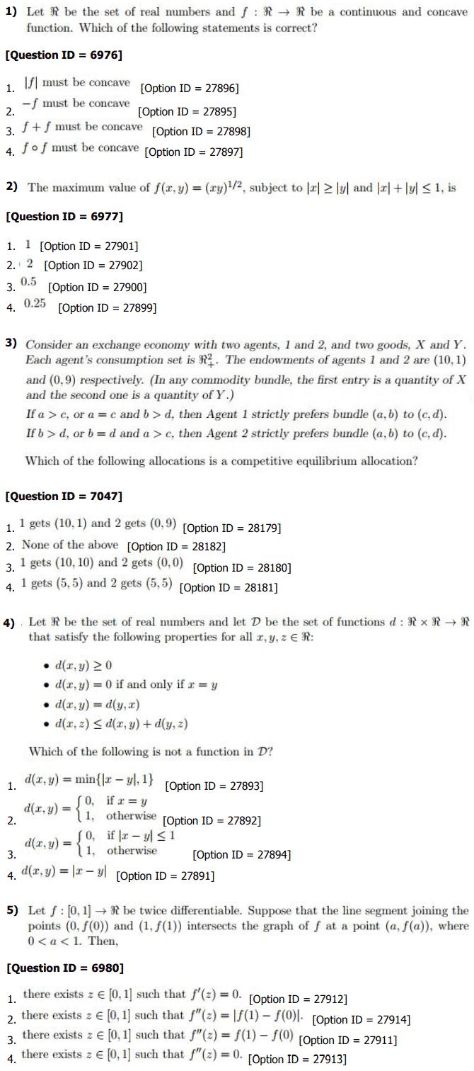 DU MA Economics Entrance Question Paper with Answer Keys ...