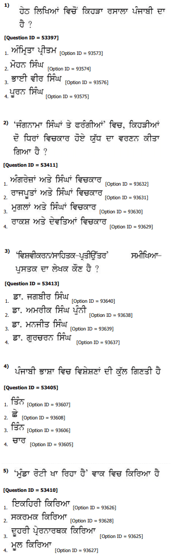 DU MA Punjabi Entrance Question Paper 2019