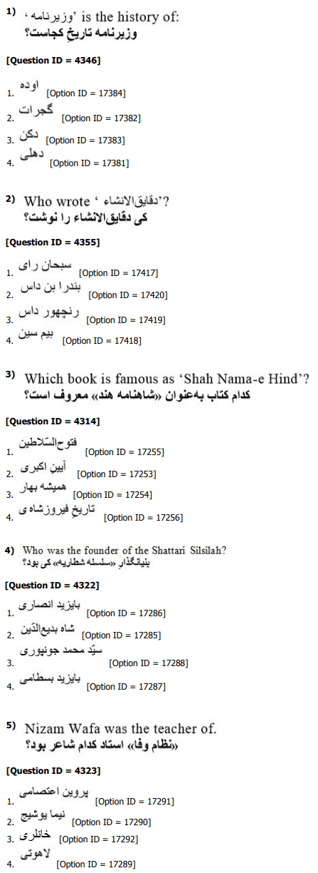 DU MPhil Phd in Persian Question Paper 2019