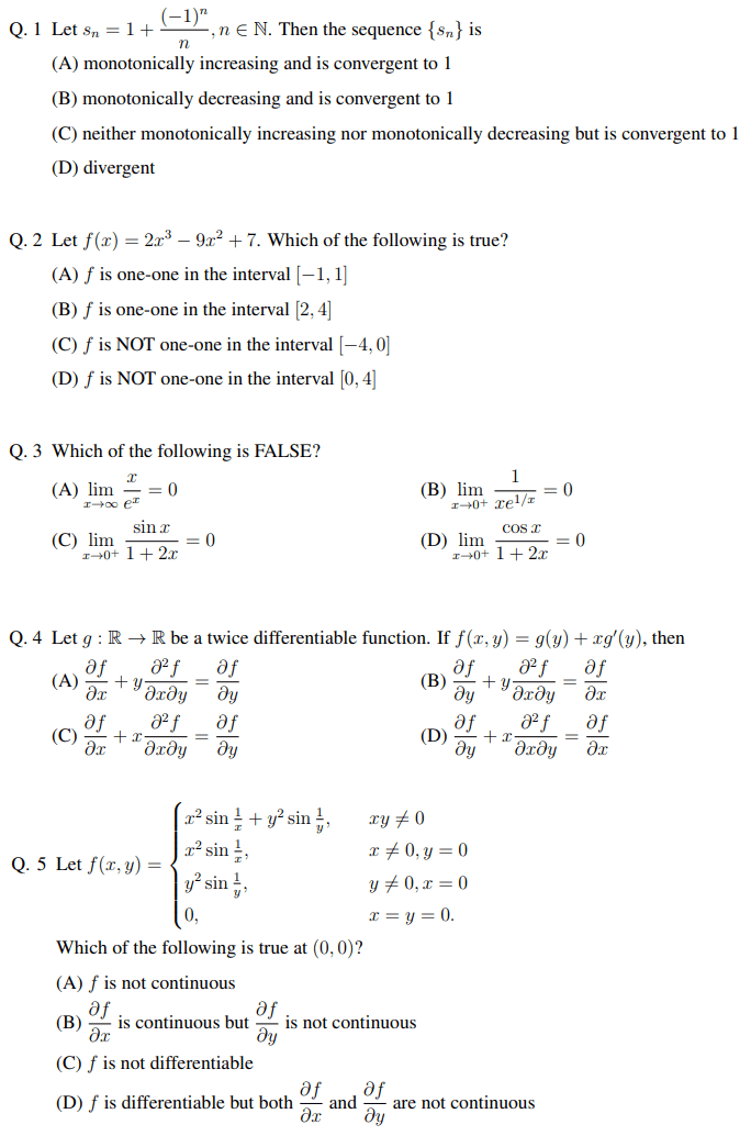 JAM MA Question Paper 2020