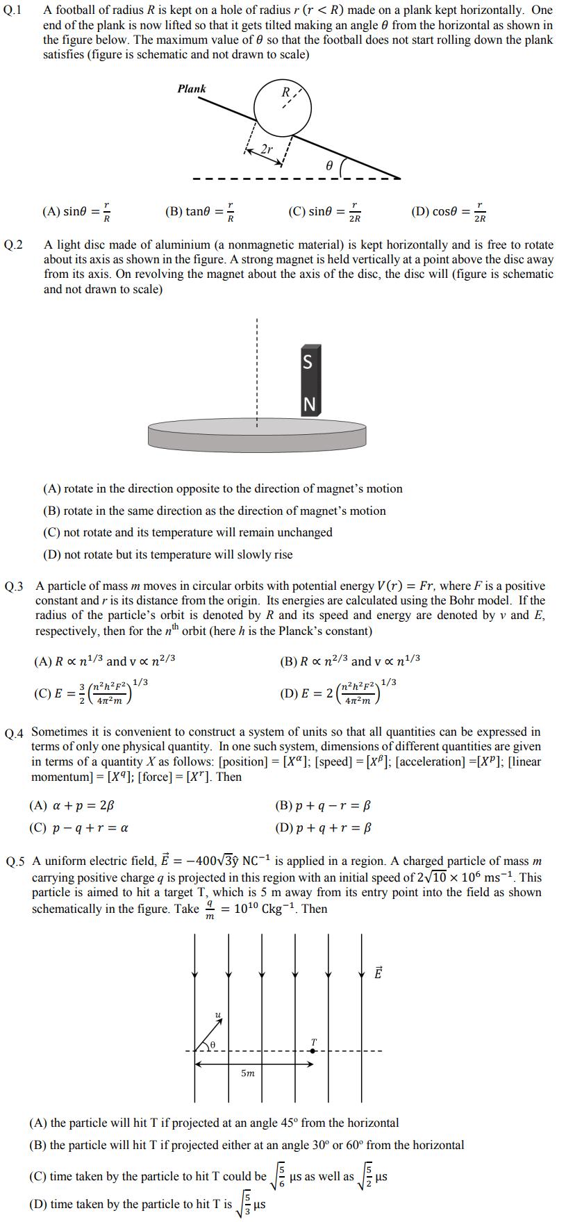 JEE Advanced Physics Sample Paper 2020
